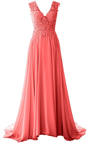 MACloth Women V Neck Long Prom Dress Vintage Lace Chiffon Formal Evening Gown Wassermelone