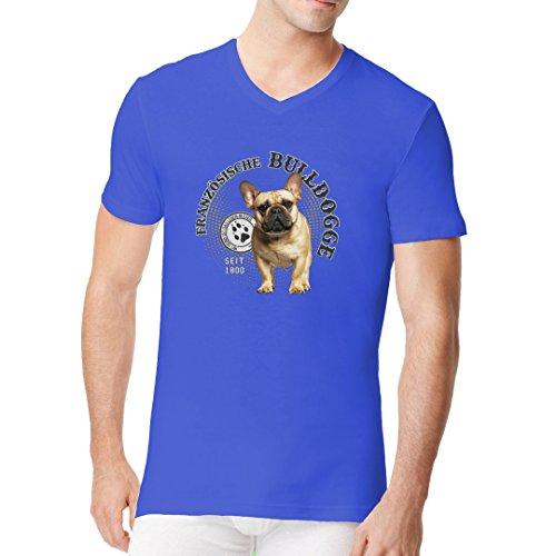 Im-Shirt - Hunde Motiv: Französische Bulldogge cooles Fun Men V-Neck - verschiedene Farben Royal