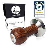 K&J Kitchen® Profi Espresso Tamper - Das Original - Barista Qualität - 51mm - Stempel für Siebträgermaschinen - Premium Echtholz und Edelstahl - Kaffeemehlpresser - Kaffeedrücker