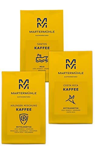 Martermühle | Kaffee Probierset | (3 x 250g) | Ganze Bohnen | Premium Kaffeebohnen aus aller Welt | Schonend geröstet | Kaffee säurearm | 100{f0dca3bc173d2f04d4de6389fe435fc6684187daedde3f036538fecaba20b5a9} Arabica
