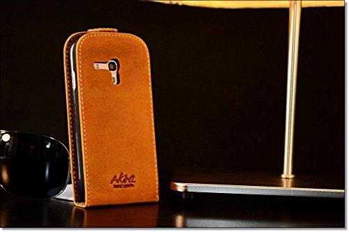 Original Akira Hand Made [Echt Leder] Handyhülle Samsung Galaxy Ace 2 Cover Handgemacht Case Schutzhülle Etui Flip Wallet Pen [DEUTSCHER FACHHANDEL] Braun