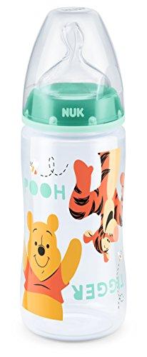 NUK 10216199 Disney Winnie First Choice Plus Flasche aus PP 300 ml, kiefergerechter Silikon-Trinksauger,BPA frei, 6-18 Monate, M, grün
