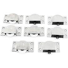 Sourcingmap A13080500UX0361 Rueda de puerta corredera Plata, blanco y negro Set de 4 Piezas
