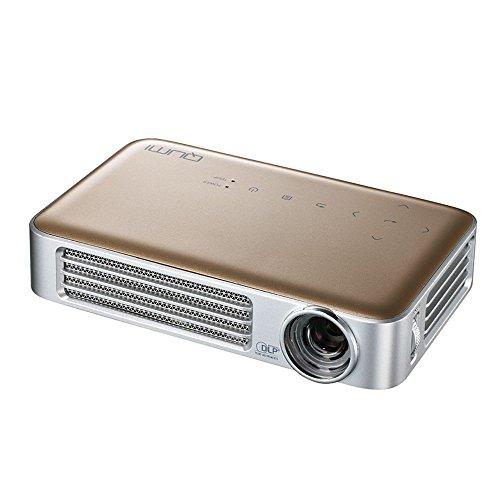 vivitek Qumi Q6, kompakter LED-Projektor im Taschenformat, 800 Lumen, Wireless, 1280x800 Pixel, Beamer mit 2.5GB interner Speicher, HDMI und USB Eingang, gold