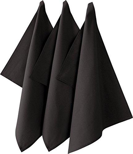 REDBEST Geschirrtuch, Küchentuch 3er-Pack 100% Baumwolle anthrazit Größe 50x70 cm - saugstarke, strapazierfähige Qualität, mit Aufhängung (weitere Farben)