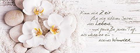 artissimo, Glasbild, 80x30cm, AG1903A, Nimm dir Zeit.., Orchidee, Bild aus Glas mit Spruch, moderne Wanddekoration aus Glas, Wandbild Wohnzimmer