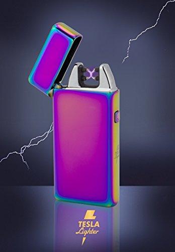 Tesla-Lighter T05 | Lichtbogen Feuerzeug, Plasma Single-Arc, elektronisch wiederaufladbar, aufladbar mit Strom per USB, ohne Gas und Benzin, mit Ladekabel, in edler Geschenkverpackung, Regenbogen