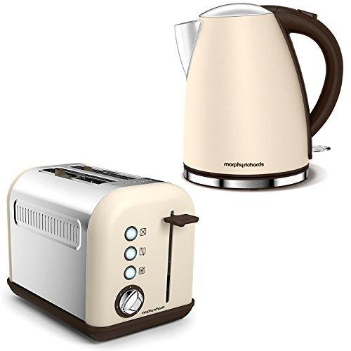 Russell Hobbs Accents Sand Elektrisch Heiss Siedend Wasser Kessel Krug & 2 Scheiben Toaster Küche Set