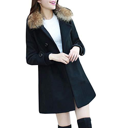 Mantel Damen Elegant Trenchcoat MYMYG Übergangsmantel Zweireihig Herbst Wollmantel Lange Ärmel Warm Windbreaker(SchwarzEU:36/CN-M)