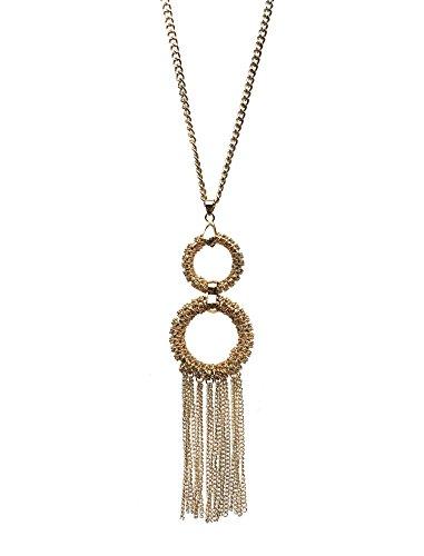 Gold Farbe Twin Ring und Quaste Anhänger Kostüm Schmuck Halskette für (Twin Kostüme)
