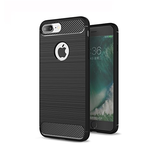tinxi® Soft Kratzfest Schutzhülle für Apple iPhone 7 Plus 5,5 Zoll Hülle Rutschfest Shock Proof Kohlefaser Rück Schale silikon Cover Case Schutz Schwarz Schwarz