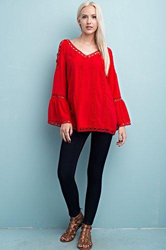 Solitaire Tonal Crochet Blouse (medium) Jersey Knit Halter Top