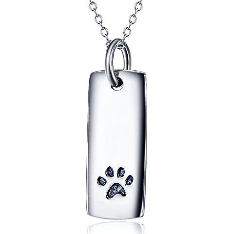 Argento Sterling 925Forever Love zampe di cane Tag ciondolo collana, 18