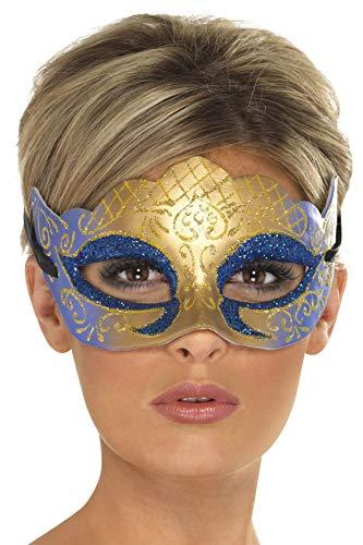 Smiffys Unisex Venezianische Glitzer Augenmaske, One Size, Gold -
