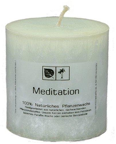 Marmorierte Natur Kerze 7,5 x 7,5 cm aus Pflanzenwachs, Duftnote MEDITATION, ungebleichter Docht