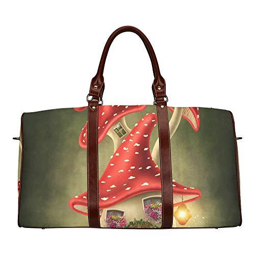 Reise-Seesack Pilzhaus Forest Fairy wasserdichte Weekender-Tasche Übernacht-Tragetasche Handtasche für Damen Damen-Einkaufstasche mit Mikrofaser-Leder-Gepäcktasche