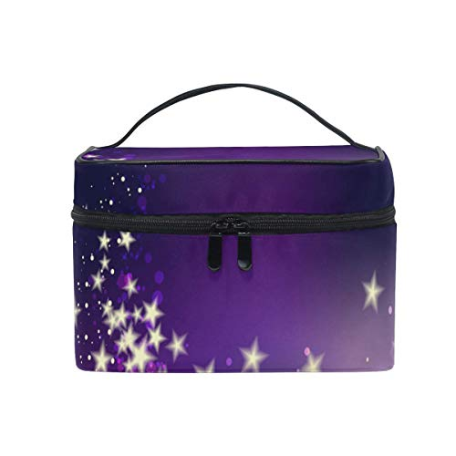 Bolsa de bolsa de cosméticos de maquillaje colgante portátil,Purple Halo Light Shine Bright Star Makeup Bag Travel Toiletry BOX Portable Organizer Storage Cosmetic Train Case for Women Girls