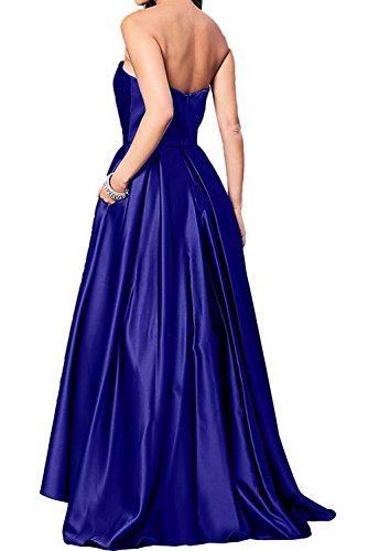 Sunvary Royalblau Traegerlos Satin A-Linie Neu Ballkleider Abendkleider Lang Promkleider Schokolade