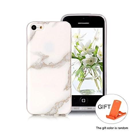 Hülle für iPhone 5C Wanxida Marmor Muster Bumper TPU Silikon Schutzhülle Soft Clear Case Cover Ultra Dünne Schlanke Etui Weiche Glatte Tasche Kratzfeste Stoßfeste Handyhülle -
