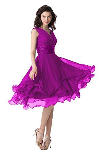 Victory Bridal Einfach Tief V Ausschnitt Abendkleider Ballkleider Brautjungfernkleider kurzes Chiffon Violett
