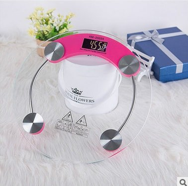 Shoppers Page Round Thick Tempered Glass Electronic Weighing Bathroom Digital Scale with LED LIGHT DISPLAY AND BATTERY INDICATOR  available at amazon for Rs.520