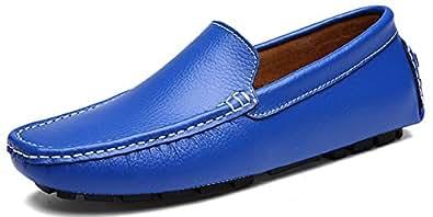 SEECEE Herren Mokassins Große Größe Leder Bootsschuhe Weich Männer Fahrschuhe Slipper Freizeitschuhe Loafers Schuhe Schwarz 44 EU vQ0RZGL