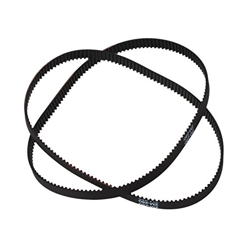 WEONE Black Fiber Reinforced Rubber 280-2GT 11 Inch Length Timing Belt Annular Loop Rubber 6mm Width 2mm Pitch Close End Geared Belt (Pack of 2)