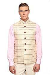 Jute Beige Festive Nehru Jacket