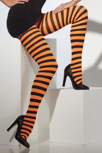 Generique - Schwarz-Orange Gestreifte Halloween-Strumpfhose für Erwachsene