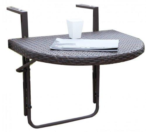 Garden Pleasure Balkon-Hängetisch AGRA, klappbarAlu/Kunststoffgeflecht, Coffee
