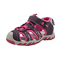 Apakowa Baby Little Girls Summer Closed Toe Athletic & Outdoor Hiking Beach Sandals Kids Touch Fastening Sports Trail Sandals (Color : Purple, Size : 11 UK Child)