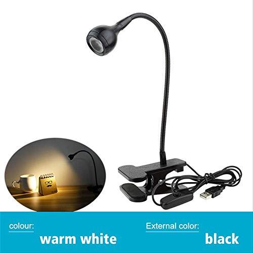 PMWLKJ Lampe de bureau d'alimentation USB avec porte-pince rechargeable Usb Led Lampe de table 53x276x38mm Noir Chaud Blanc