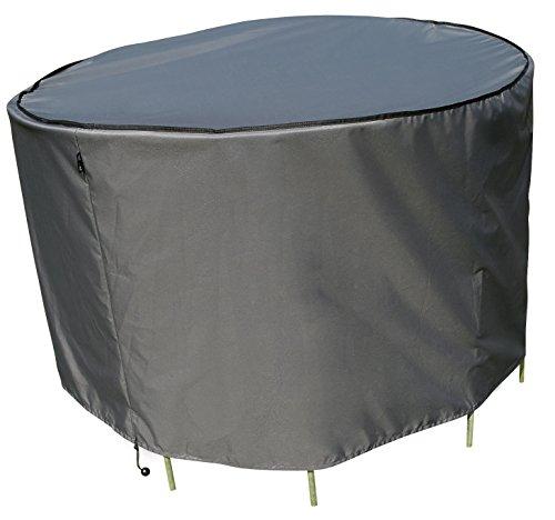 Schutzhülle / Cover für runden Tisch Set | Grau | Ø 153 x 90 cm (L/W x H) | Wasserabweisend | SORARA | Polyester & PU Coating (UV 50+)| Premium | Abdeckhaube / Wettershutz | Regenfest | für Outdoor Garten Möbel