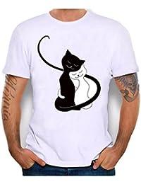 Vovotrade O-Cuello Blanco Negro de Dibujos Animados Amante de los Gatos Hombres de Las Mujeres impresión Camisetas Camisa de Manga…