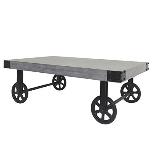LOFT Table basse sur roulettes vintage en bois pin massif decor beton - L 110 x l 71 cm