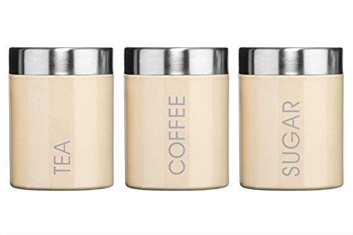 Premier Pot à thé, café et sucre Couvercle argenté et inscription Émail Crème Lot de 3