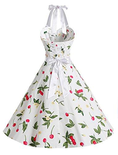 Dressystar Vintage Tupfen Retro Cocktail Abschlussball Kleider 50er 60er Rockabilly Neckholder Kleine Kirsche Weiß