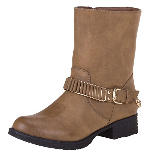 Damen Schuhe STIEFELETTEN GEFÜTTERTE KETTEN DEKO BOOTS Farben: Schwarz Braun Beige Größen: 36 37 38 39 40 41 Hellbraun