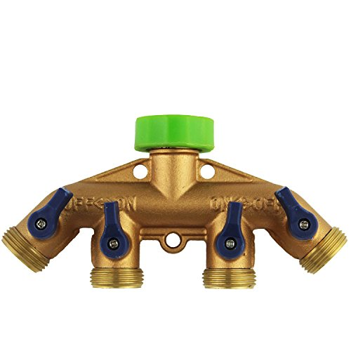 tolako-heavy-duty-3-4-water-hose-shut-off-valve-solid-brass-garden-hose-splitter-easy-4-way-hose-con