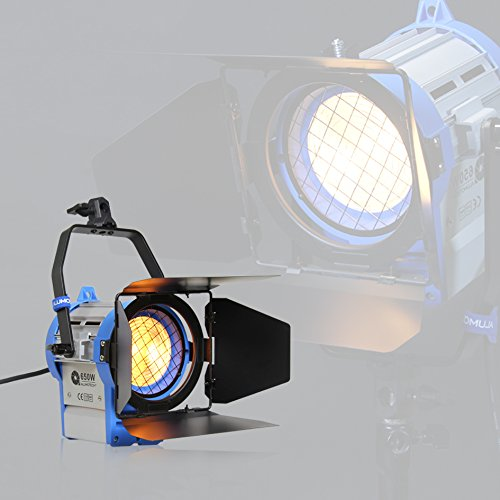 Alumotech 650watt Pro Movie Fresnel proyector de tungsteno iluminación Studio Video + Bulb + Barndoor