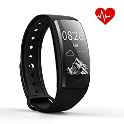 Oske Fitness Tracker(may 2018 Smartwatch Smart Bracelet Blood Pressure Heart Rate Monitoring Waterproof Bluetooth Touch Screen Sports Pedometer Wear For Ios Android Smartphones (Black)