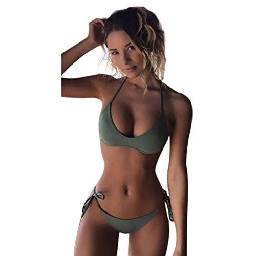 Bikini da Donna Monokini Con Reggiseno Imbottito Push-up Da Bagno Per Donna,Sonnena Costume da Bagno Donna a Due Pezzi Imbottiti Push-up Tinta Unita Donna Reggiseno Push-up Imbottito Top Bikini (S, Verde)