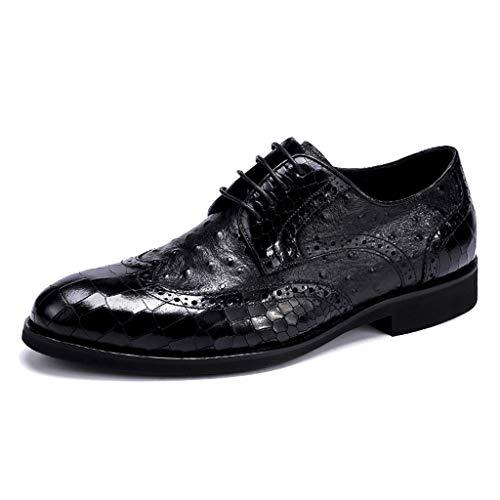 shiwu Mit Leder gefütterte Herren-Brogues in schwarzer Schnürung Gatsby Wedding Shoes Elegante, lässige Herren-Leder-Brogue-Schnürschuhe von Oxford,Black-42