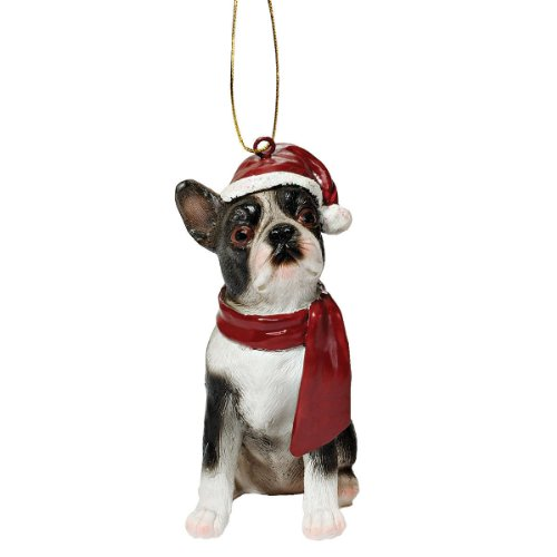 Design Toscano Christmas Ornaments, Weihnachten Boston Terrier Ferienhundeornamente (Boston-statue)