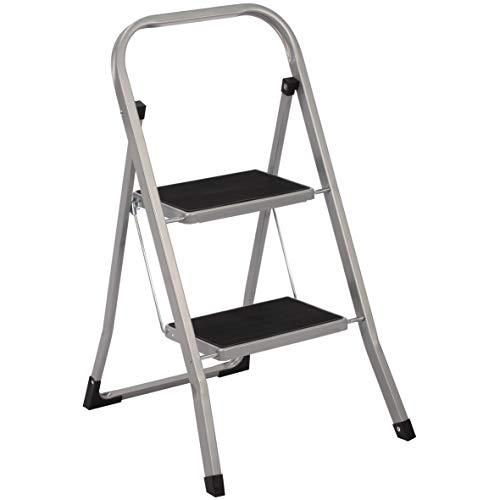 Trittleiter 2 Stufen Leiter Klapptritt Klappleiter Klapptreppe Tritt Haushaltstritt Stehleiter Sprossenleiter klappbar faltbar bis 150 kg (2 Stufen, silber/schwarz)