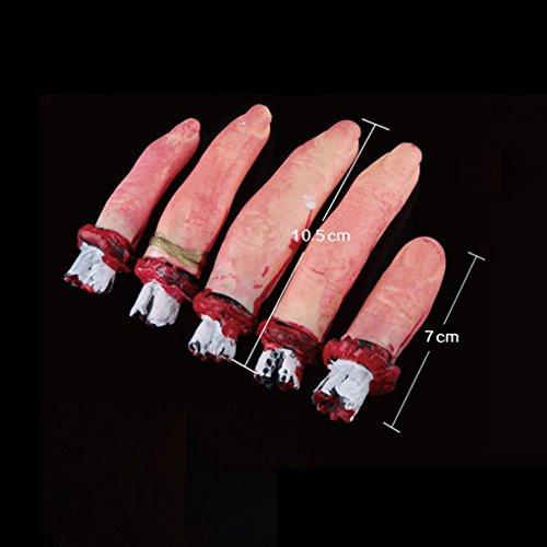 Republe Scary Horror Sangriento de Halloween Decoración Prop Falsos Severed tamaño Natural del Brazo Dedos de la Mano