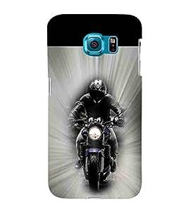 For Samsung Galaxy S6 Edge :: Samsung Galaxy S6 Edge G925 :: Samsung Galaxy S6 Edge G925I G9250 G925A G925F G925FQ G925K G925L G925S G925T bike rider ( bike rider, bike, motorcycle, man ) Printed Designer Back Case Cover By CHAPLOOS