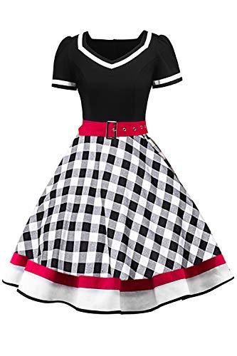 MisShow Damen 1950er Rockabilly Pettocoat Kleider Damen Vintage Kleider Festliches Mottokleider Partykleider FS3713 M