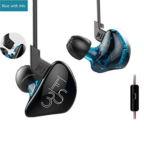 yinyoo KZ ES3in-Ear-Kopfhörer, In Ear Kopfhörer Mit Dual Treiber für ausgewogenen Klang KZ Kopfhörer Hybrid Kopfhörer mit abnehmbarem Kabel Kopfhörer Wired Stereo-In-Ear