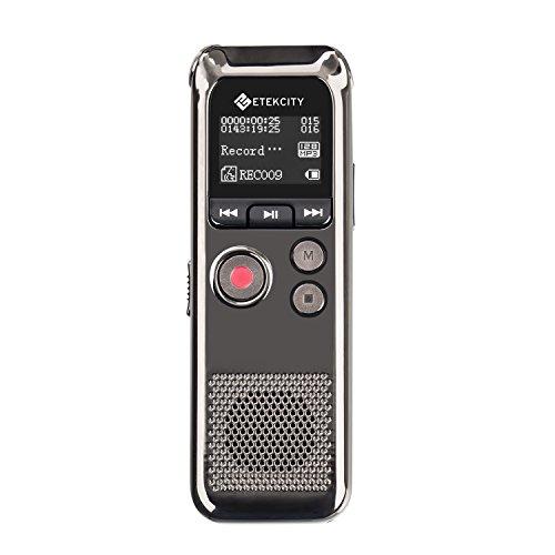 Etekcity EDVR-300 Grabadora de Voz Digital de Acero, Grabadora Recargable...